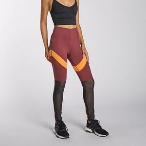 Secndnture red yellow half mesh active leggings